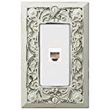 Filigree Antique White Cast 1 Phone Jack Wallplate