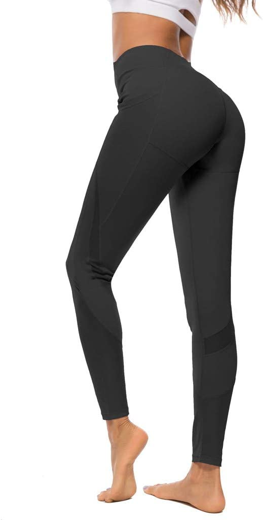 Pink, S YunZyun High Waist Yoga Pants with Gauze Pockets Tummy Control Workout for Womens Stretch Leggings Elastic Fitness Running