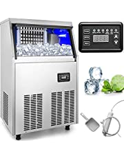 VBENLEM Commercial Ice Makers 90 to 100LBS per 24H Stainless Steel 33LBS Storage Free Standing Commercial Ice Machine 4x9 Ice Cubes LED Display Auto Clean for Restaurant Bar and Coffee Shop
