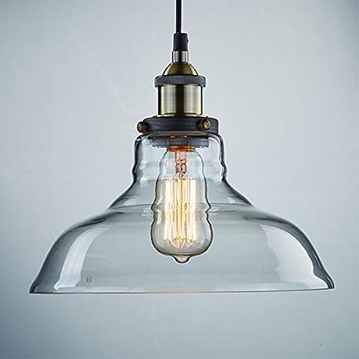 KLSD Industrial Vintage Edison Transparente Vidrio Techo Lámpara Colgante Lámpara para Cocina Loft Dormitorio