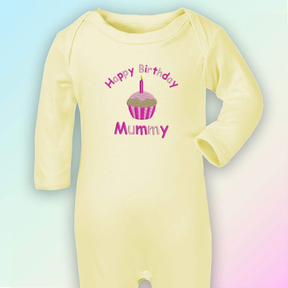 Embroidered Happy Birthday Mummy Romper in Baby Yellow Pinks Thread 6-12 Months