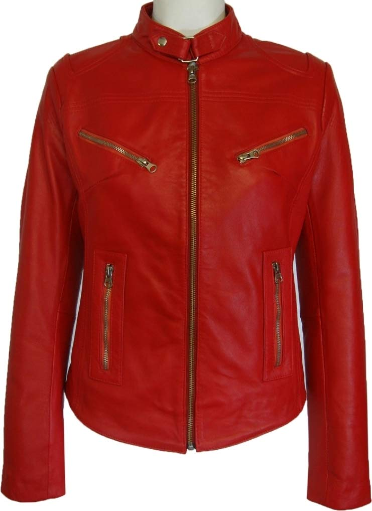 Womens 100% Real Leather Jacket Red #Z2 (10)