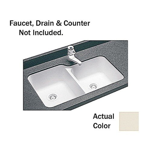 Swanstone US03015SB.018 Solid Surface Undermount Double-Bowl Kitchen Sink, 33-in L X 21.25-in H X 8.25-in H, Bisque