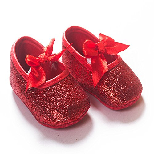 R&V Baby Girl Moccasins Infant Princess Sparkly Premium Lightweight Soft Sole Tassels Prewalker Toddler Girls Shoes (M:6-12 Months, Red)]()