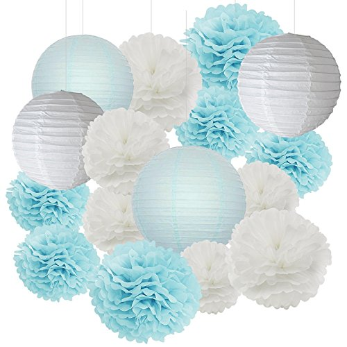 Furuix 18 pcs Boy Baby Shower Decorations White and Baby Blue Mixed Tissue Pom Pom Flower and Paper Lantern Party Favors Wedding Birthday Decor Paper Decorations
