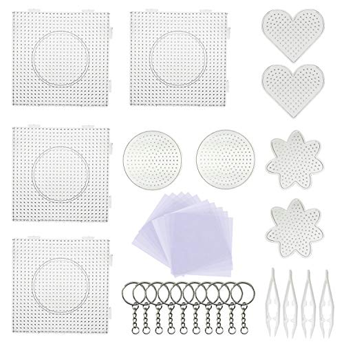5 mm 10 Pack Fuse Beads Boards Seasonsky Large Round Square Clear Plastic Pegboards with 6 PCS White Beads Tweezers, 10 PCS Ironing Paper and Keychain for Kids Craft Supplies (Heart Ironing Board Cover)