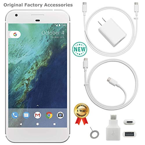 Google Pixel XL 1st Gen G-2PW2100 128 SIL 128GB Smartphone (Unlocked) GSM + CDMA / 4G LTE Capable + 1 Year Warranty Bundle - US Retail Version (Very Silver, 128GB 5.5