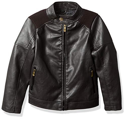 Urban Republic Boys' Big Artsy Faux Leather Jacket, Darkbrown, 14/16]()