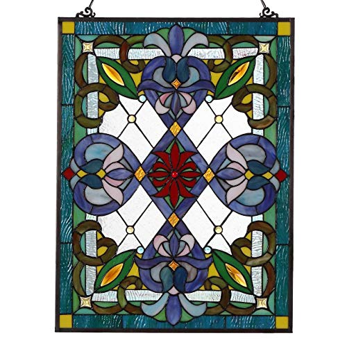 es Victorian Tiffany Style Stained Glass Window Panel with Hanging Chain ()