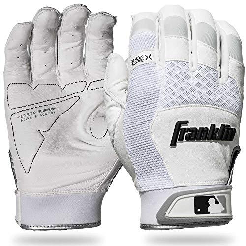 Franklin Sports 20965F4 Shok-Sorb X Batting Gloves, White/White, Adult Large ()