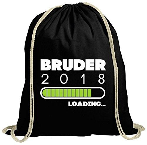 ShirtStreet Geschenkidee Geburtstag Geburt natur Turnbeutel Gym Bag Bruder 2018 Loading. Schwarz Natur