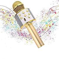 Micrófono Karaoke Bluetooth, Microfono Inalámbrico Karaoke Portátil con Función Selfie para Niños Canta Partido Musica…