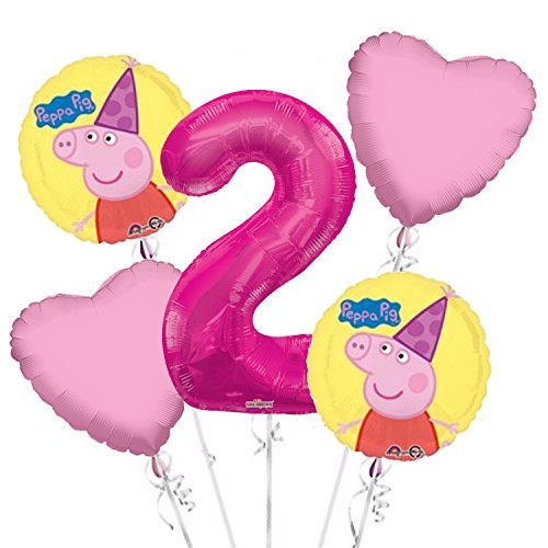 Peppa Pig Balloon Bouquet 2nd Birthday 5 pcs - Party Supplies -