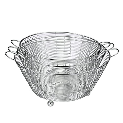 Lqchl Stainless Steel Round Fruit Basket Fruit Vegetable Washing Basin Drain Basin,26Cm
