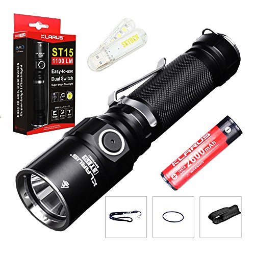 Bundle: Klarus ST15 CREE XP-L HI V3 LED 1100 Lumens Watereproof Flashlight With 18650 Rechargeable Battery and Skyben USB Light