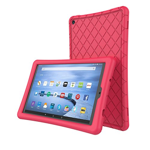 Soft Silicone Case Protector for All-New Amazon Fire HD 10 Tablet (7th Generation, 2017 Release)- [Rhombus Series] Shockproof Silicone Back Cover [Kids Friendly] for Fire HD 10.1 Inches Rose
