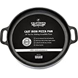 14-inch Cast Iron Pizza Pan, Pre-Seasoned Crispy Crust Round Oven Griddle with Handles for Grilling, BBQ, Baking