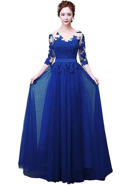 4af6f6fee78cd Minetom Vestido De Novia Cuello Redondo Mujer Encaje Hombro Longitud del  Boda Larga Elegante Manga 3 4 Vintage Coctel Largo Dama De Honor Wedding  Dress  ...