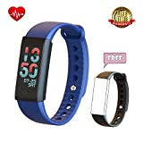Fitness Tracker Watch with Heart Rate Monitor - Wearable Pedometer with Blood Pressure Monitor and Smart Bracelet Bluetooth Wristband with Replacement Band waterproof Upgrade for Kids - Men - Women(blue)