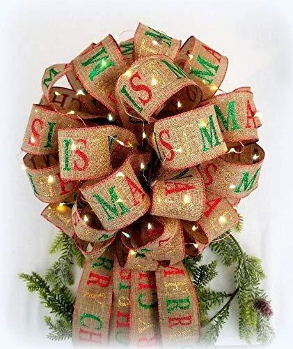 Amazon Com Lit Christmas Tree Topper Bow Xl Gift Bow Christmas