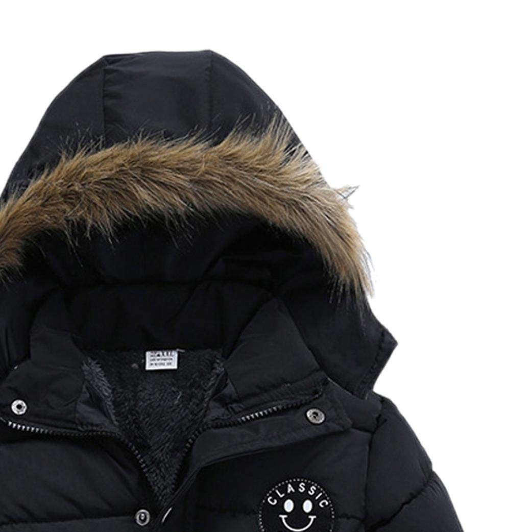 Kehen Kids Toddler Boy Girl Winter Fur Hooded Trench Coat Warm Down Jacket Thick Outerwear (Black, 2T) by Kehen (Image #2)