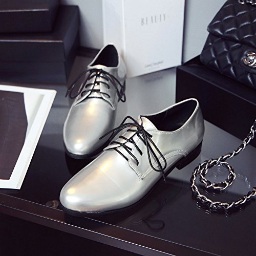Wingtip leather Women's Silver patent Shoes oxford Hecater 3 up Lace qgnwS