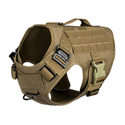 ICEFANG Tactical Dog Harness with Vertical Handle,K9 Working Dog Molle Vest,Non Pulling Front Leash Attachment (L (Chest 28'-35'), Coyote Brown)