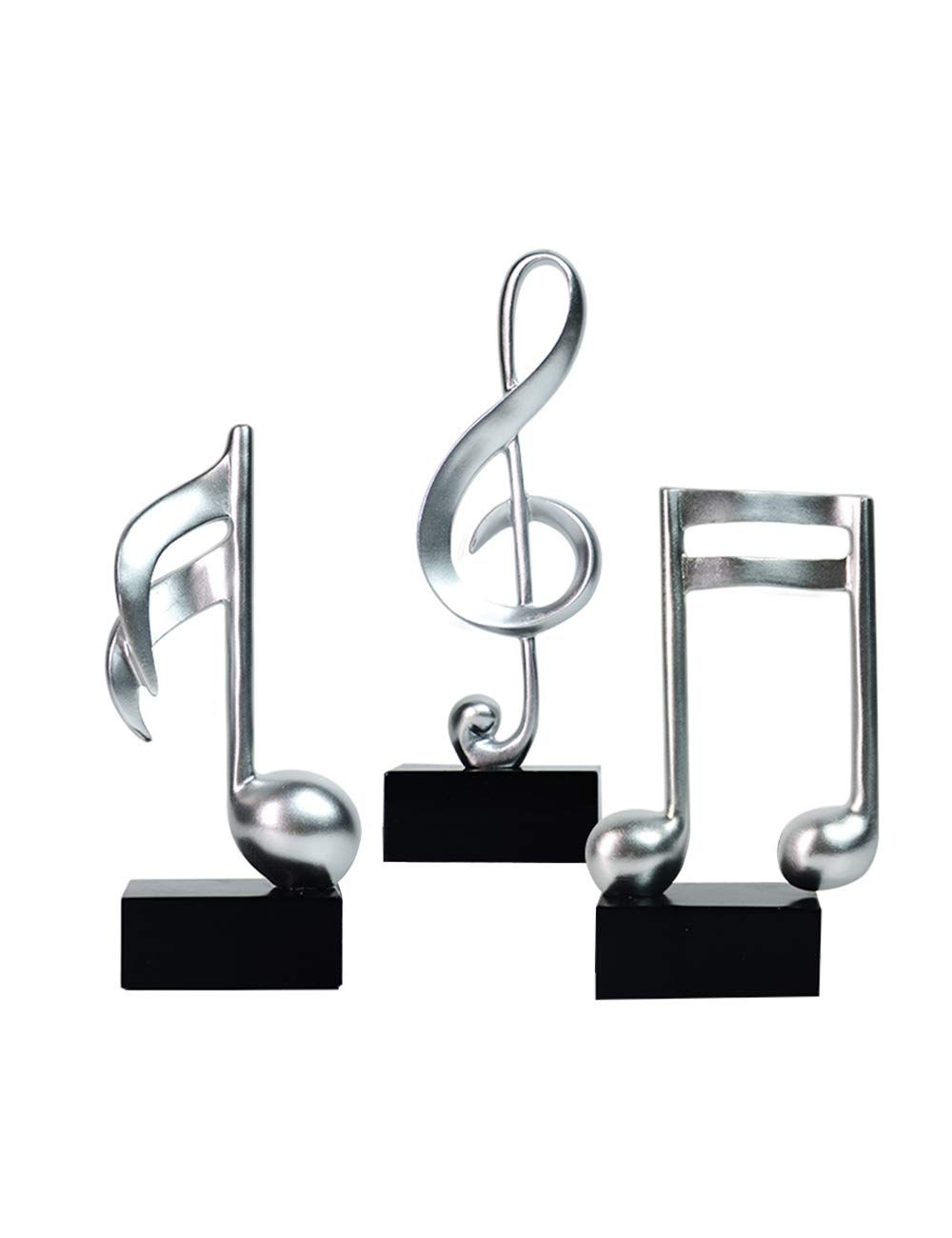 HomeBerry Musical Note Music Note Figurine Statue Sculpture Home Decor Decoration Gift Arts Crafts Hand Painted Polyreisn19cmH Set of 3 Silver