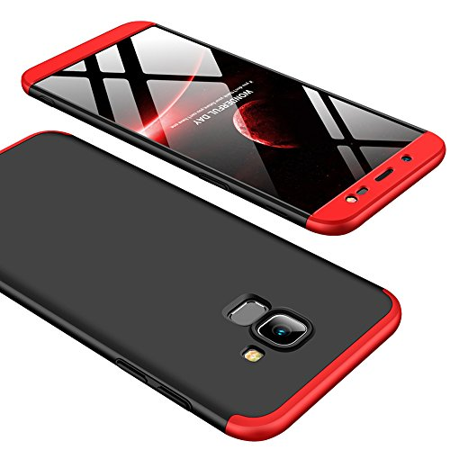 Galaxy J6 2018 Case, Ranyi [Full Body 3 Piece Cover] [Slim & Thin Fit Tightly] [360 Degree Protection] Premium Hybrid Bumper 3 in 1 Electroplated Hard Case for Samsung Galaxy J6 (2018), r/b/r