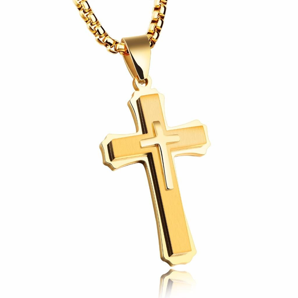 JRUI Jewelry Stainless Steel Cross Pendant Necklace For Men Boys 22 Inch Chain Religious Gift Gold