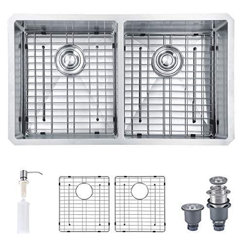 "MOWA MOWA HUD33DE Pro Series Handmade 33"" 16 Gauge Stainless Steel Undermount 50/50 Double Kitchen Sink - Upgraded w/Perfect Drainage, Bonus Combo w/Soap Dispenser, Basket Strainers & Sink Grids price tips cheap"