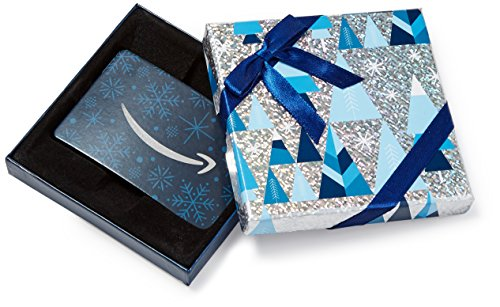 Amazon.com Gift Card in a Blue and Silver Gift Box