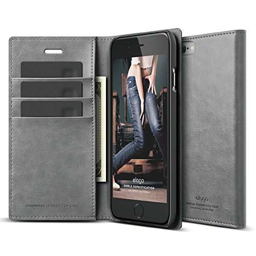 (iPhone 6S Case, elago [Leather Wallet][Dark Grey] - [3 Card Slots][Cash Pocket][Magnetic Latch] - for iPhone 6/6S)