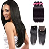 Ms Love Hair Brazilian Straight Virgin Hair 3 Bundles With Free Part Closure, Human Hair Bundles, 100% Unprocessed Hair Extensions, Natural Color (18 20 22 +14)