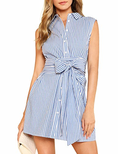 Verochic Women's Cute Tie Front Sleeveless Striped Belted Button up Summer Short Shirt Dress (Blue, Small) ()