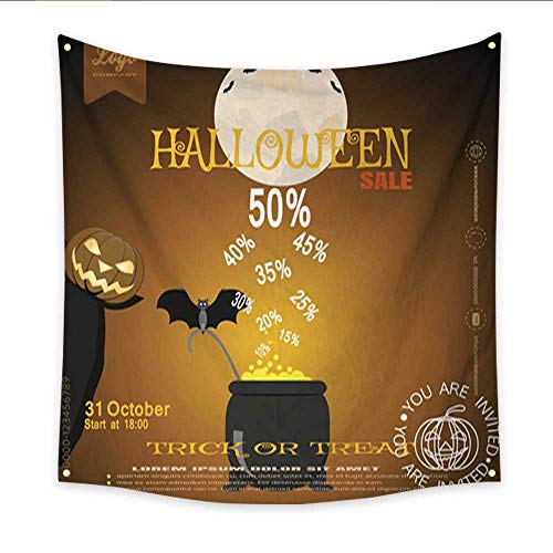 Anniutwo Tapestry Art Vector Poster of Halloween Sale with Witch Pumpkin Magic Cauldron Home Decorations 32W x 32L Inch -