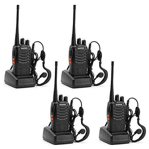 ZHIQII BF-888S 4pcs Walkie Talkie 16 Channels Signal Band UHF 400-470MHz Portable Ham CB Two Way Radio Long Range Reachargeble Earpieces Built in LED Torch(Pack of 4)