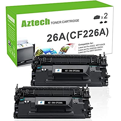 Aztech Compatible Toner Cartridge Replacement for HP 26A CF226A HP Laserjet Pro M402dn M402n M402d M402dw, HP Laserjet Pro MFP M426dw M426fdw M426fdn, HP M402 M426 Series Printer Ink (Black,2-Pack)