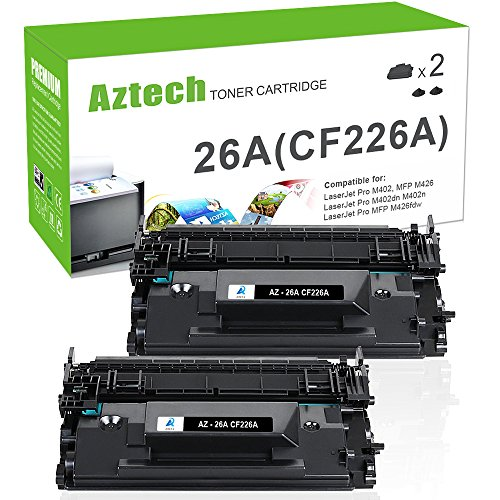 Aztech 2 Pack Replaces 26A CF226A MFP M426fdw Black Toner Cartridge 3,100 Pages Yield For LaserJet Pro M402dn M402n M402d M402dw , LaserJet Pro MFP M426dw M426fdw M426fdn , M402 M426 Series Printer (Laserjet 3100 Series)