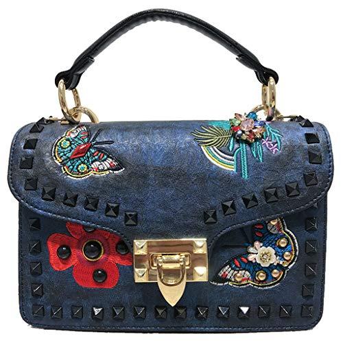 Piccola borsa a tracolla larga borsa tracolla Messenger borsa diamante rivetto ricamo borsa donna S codice u205 blu
