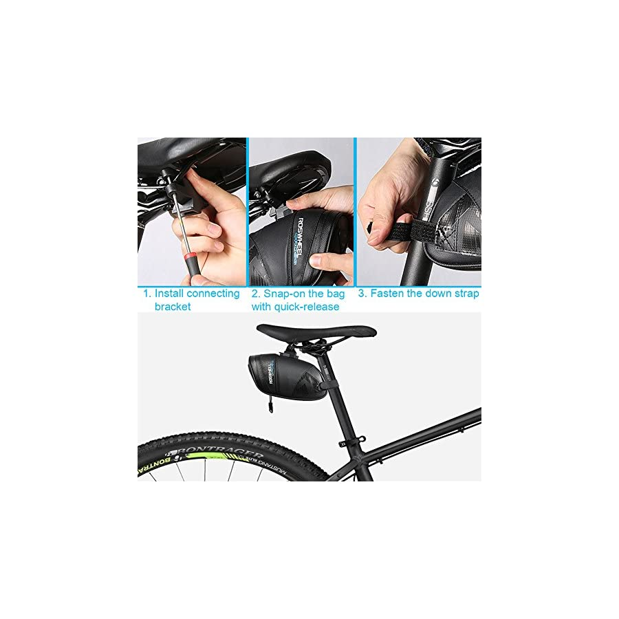 Roswheel Rainproof Bicycle Saddle Bag, Waxed Under Seat Bike Wedge Pack Water Resistant Mudproof Cycling Tail Pouch Strap Mount Quick Release Storage Pannier for Outdoor MTB Road Bike