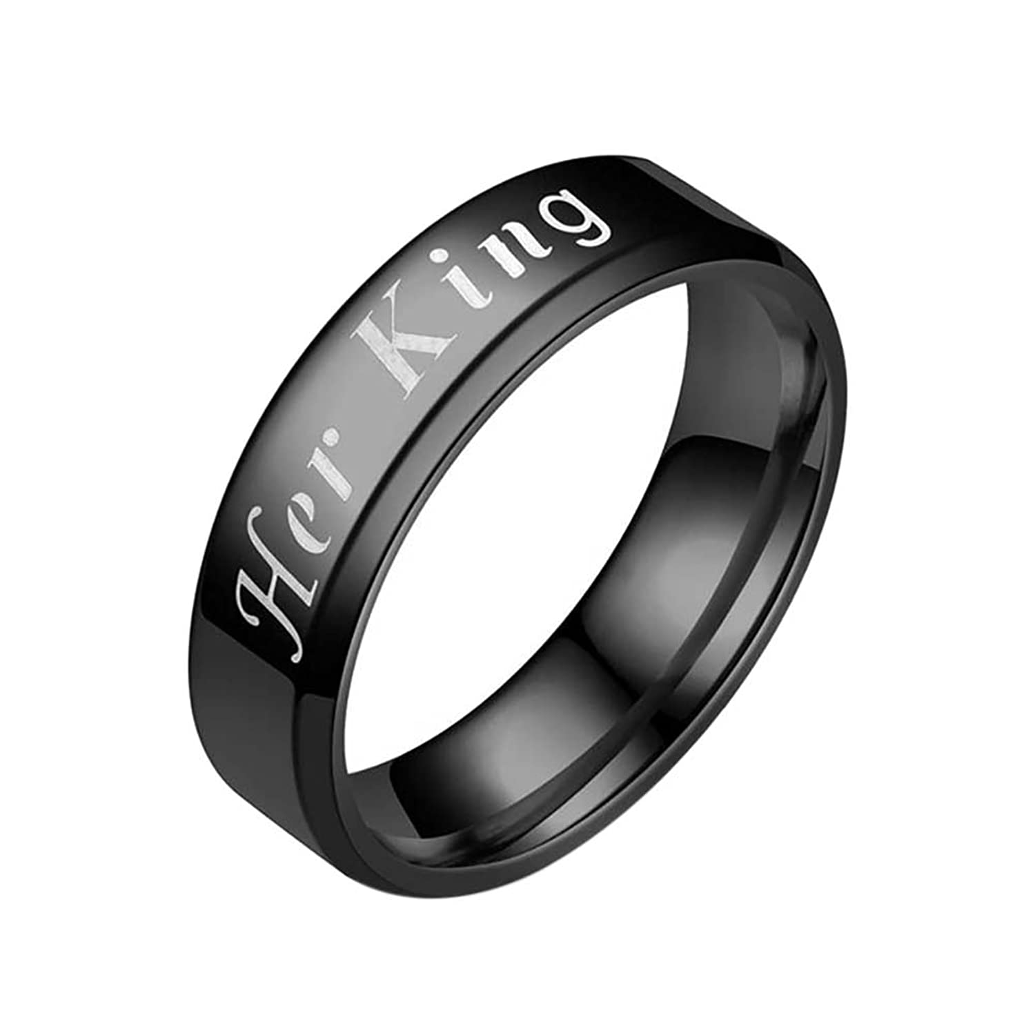 Peyan Her King His Queen Titanium Stainless Steel Couples Finger Ring - His and Hers Couple Wedding Promise Rings
