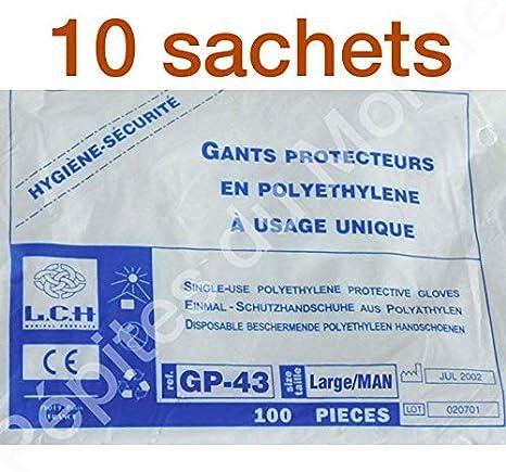 Gants Poly/éthyl/ène jetables multi-usage plastique transparent Lot 10 sachets 100 gants poly/éthyl/ène PDM-GP-10 By P/épites Monde