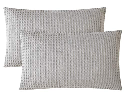 - PHF Throw Pillow Cover Pack of 2 Cotton Waffle Weave Rectangle Decorative for Couch Sofa Bed 12