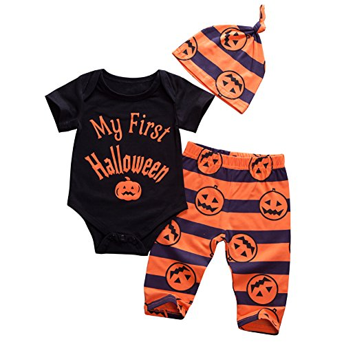 Newborn Infant Baby Boy Girls First Halloween Clothes Romper Tops Pumpkin Pants Outfits Set]()
