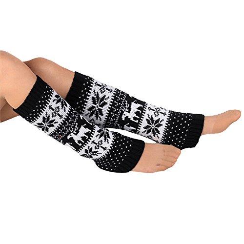 Oksale Women Warm Elk Snowflake Crochet Knitted Boot Cover Socks Leg Warmers (Embellished Snow Boots)