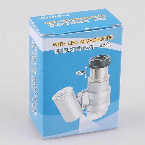 Kingzer Mini Portable 45X 2 LED Light Pocket Microscope Magnifier Loupe Handheld