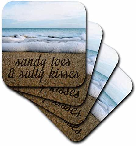 Tory Anne Collections Quotes - SANDY TOES AND SALTY KISSES OCEAN BACKGROUND - set of 8 Coasters - Soft (cst_234525_2)
