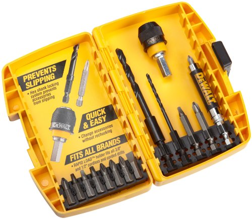 Quick Chuck - DEWALT DW2513 Rapid Load 15 Piece Drilling and Driving Set in Plastic Case