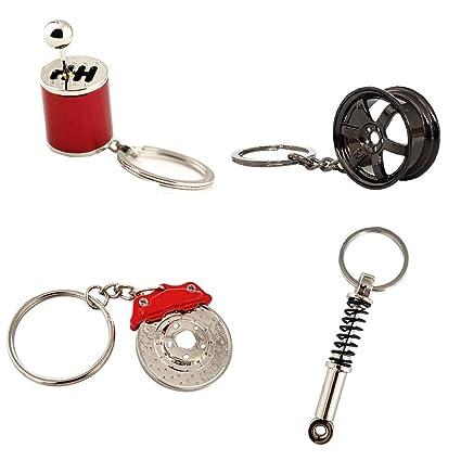Ispeedytech 4 Auto Part Model Metal Keychain//Key Ring//Holder Set Wheel Rim Tyre,Spinning Turbo Six Speed Manual Transmission Shift Spring Shock Absorber Keychain